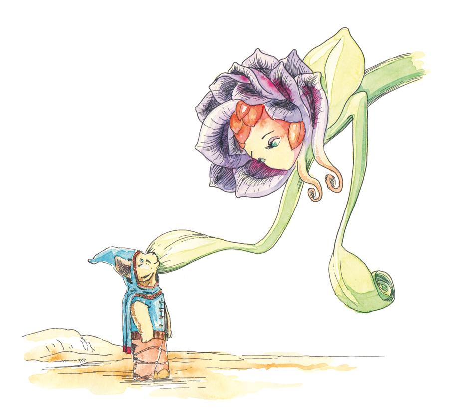 Die mütterliche Pflanze Rosamund aus dem Kinderbuch